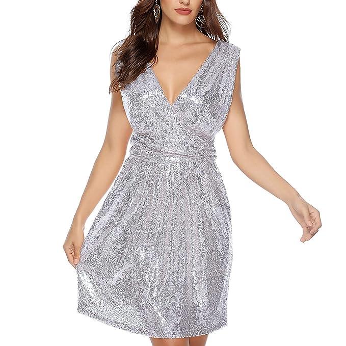 40b17fe9eeaf HaoHuodress Vestito Paillettes da Donna Sexy Deep V Ginocchio Senza Maniche  Abito da Sera Lucido: Amazon.it: Abbigliamento