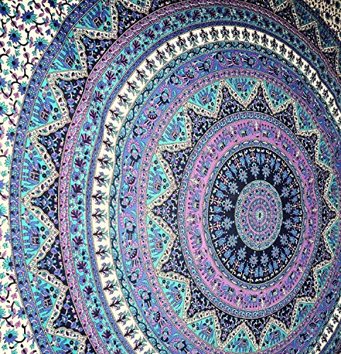 Popular Handicrafts Mandala Tapestry Hippie Hippy Wall Hanging Throw Bedspread Dorm Tapestry Elephant Tapestries Decorative Wall Hanging Picnic Beach Sheet Coverlet 84x90 Inches By Popular Handicrafts