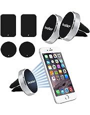 iVoler [Lot de 2 Extra Mini Support Téléphone Voiture Magnétique d'Aération avec 4 Plaques Métalliques (2 Rectangulaires/2 Rondes) pour iPhone,Samsung,Huawei, LG, Nexus, Motorola,Sony etc - Argent