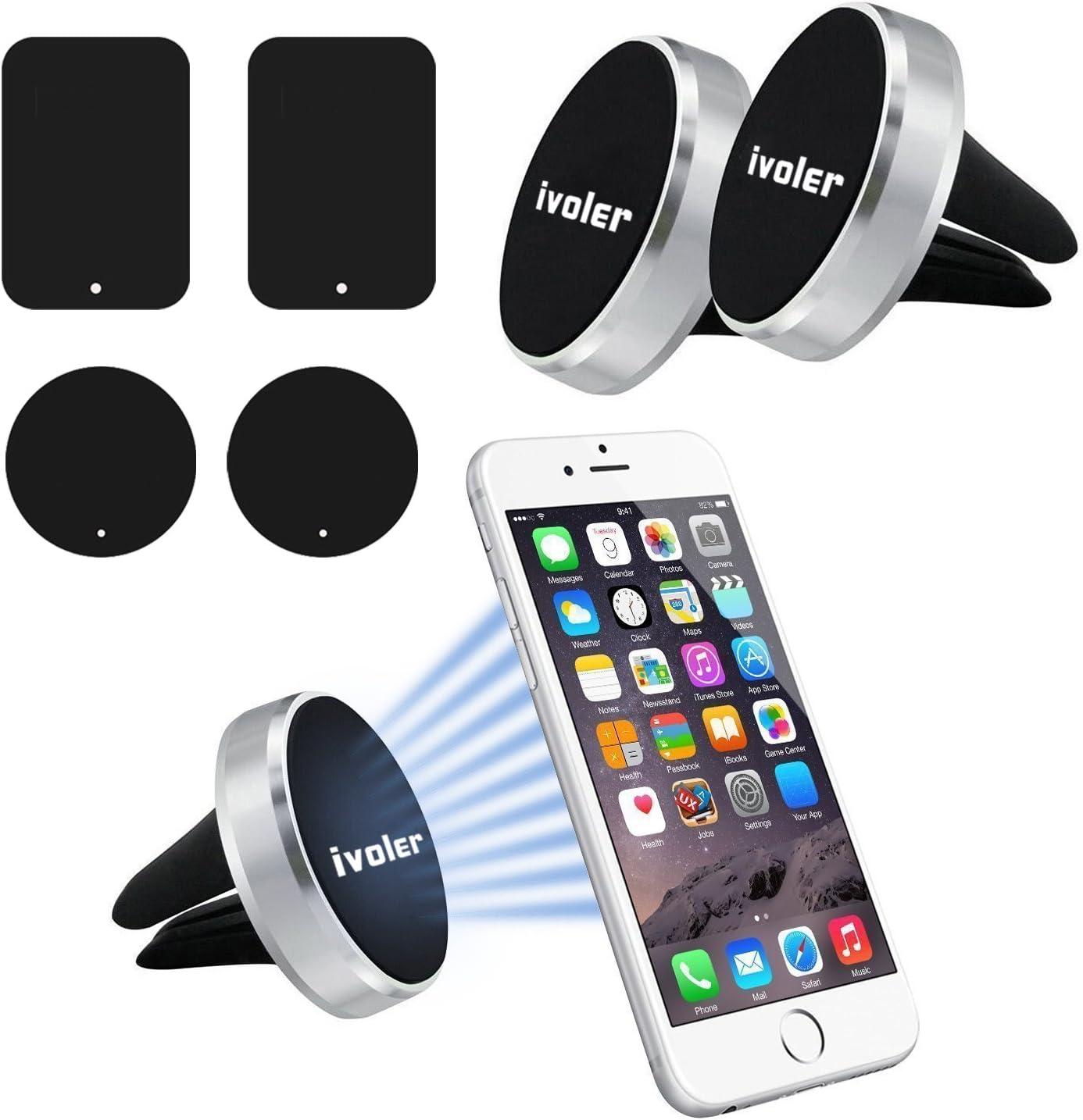 ivoler 2 pack Soporte Magnético Móvil Coche Soporte Iman Móvil Coche para Rejilla del Aire,360°Rotación Soporte Iman Coche para iPhone 7/6s/6/5,Samsung Note8/S8,Xiaomi,BQ,LG - Plata