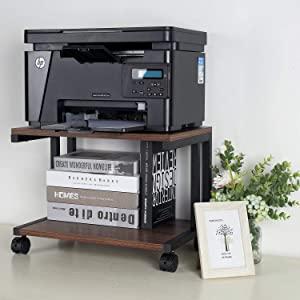 Desktop Printer Stand, Mobile Printer Stand Organizing Storage with 4 Rolling Wheels