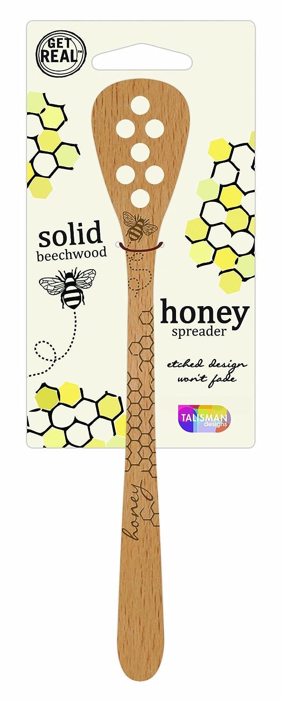 Talisman Designs 2883 Laser Etched Bee Design Beechwood Honey Dipper and Spreader Brown