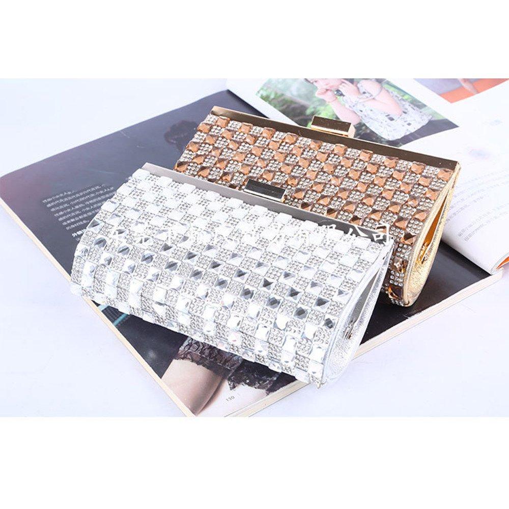 Dam aftonväska handväska bal väska handväska dam kväll kuvertväska strass lås kopplingar kväll handväska handväska handväska (färg: Guld) SILVER