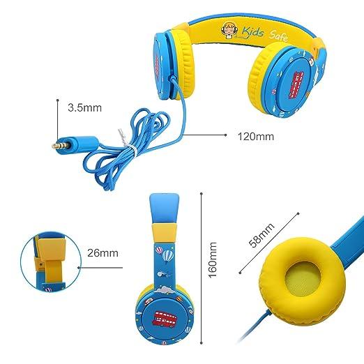 EasySMX HiFi-Kopfh/örer Leicht-Kopfh/örer verdrahtete 85dB Lautst/ärke begrenzt mit Mic Kopfh/örer Splitter 3,5 mm Klinke Inline Steuerung Kinderkopfh/örer
