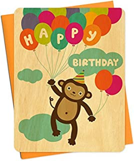 product image for Night Owl Paper Goods Monkey Real Wood Birthday Card