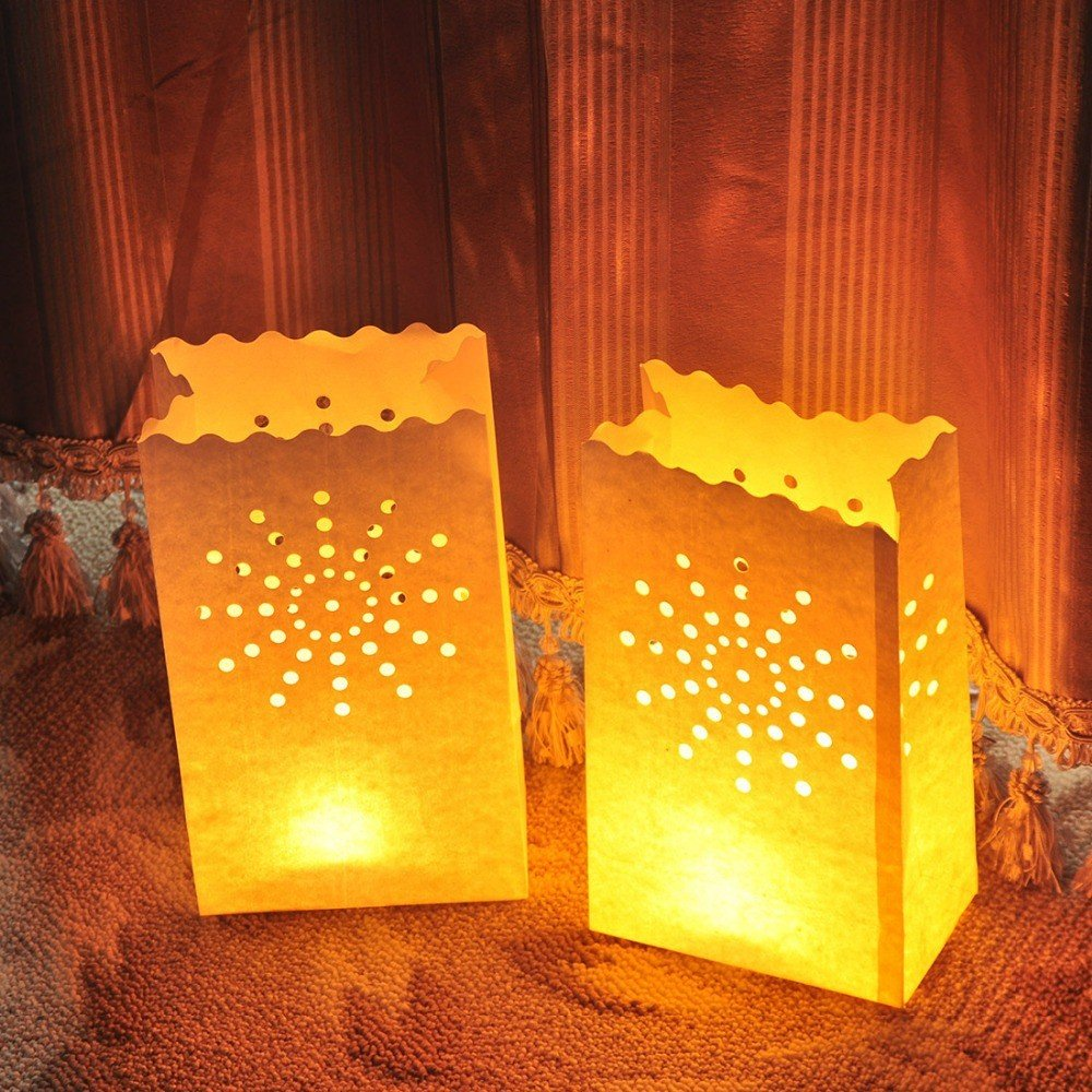 Fascola 30 Packs Luminary Paper Lantern, Candle Tealight Tea Light Bag Bags - Flame Resistant Paper for BQQ Party Wedding Reception Party and Event Decor