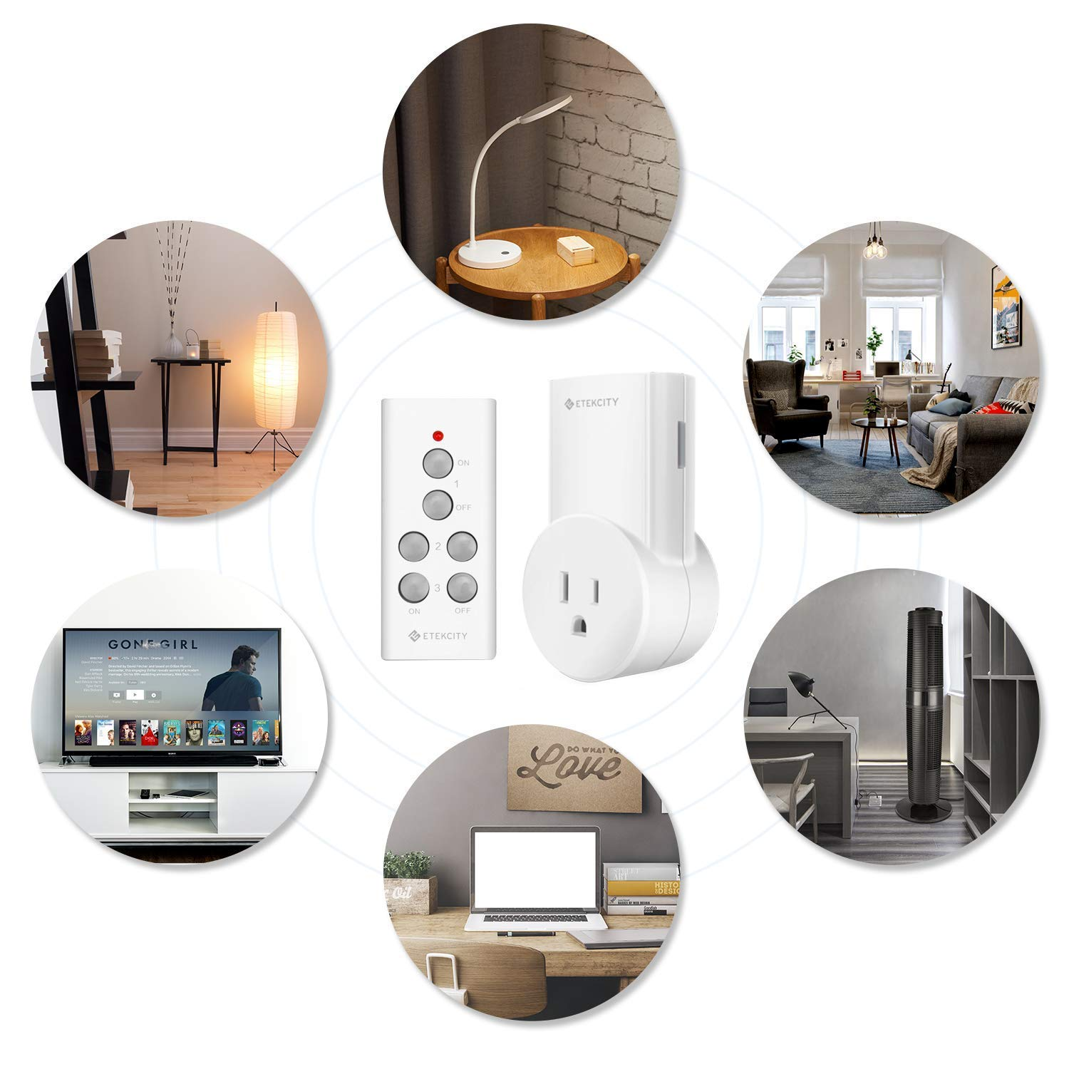 Etekcity Remote Control Outlet Wireless Light Switch For Household Circuit Turn On Off Any Home Appliances Plug And Go Up To 100 Ft Range Fcc Etl Listed White Learning Code