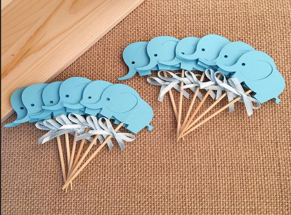 Ideas Para Baby Shower Elefante.Baby Shower Cake Decoration Set Of 10 Pcs Blue Elephant