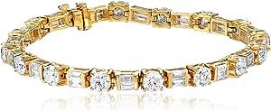 "IGI Certified 14k Gold Baguette and Round-Cut Diamond Tennis Bracelet (10 1/3 cttw, H-I Color, SI1-SI2 Clarity), 7"""