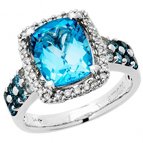 Amoro 14kt White Gold Blue Topaz and Diamond Ring (0.17 cttw, H-I Color, I1-I2 Clarity)