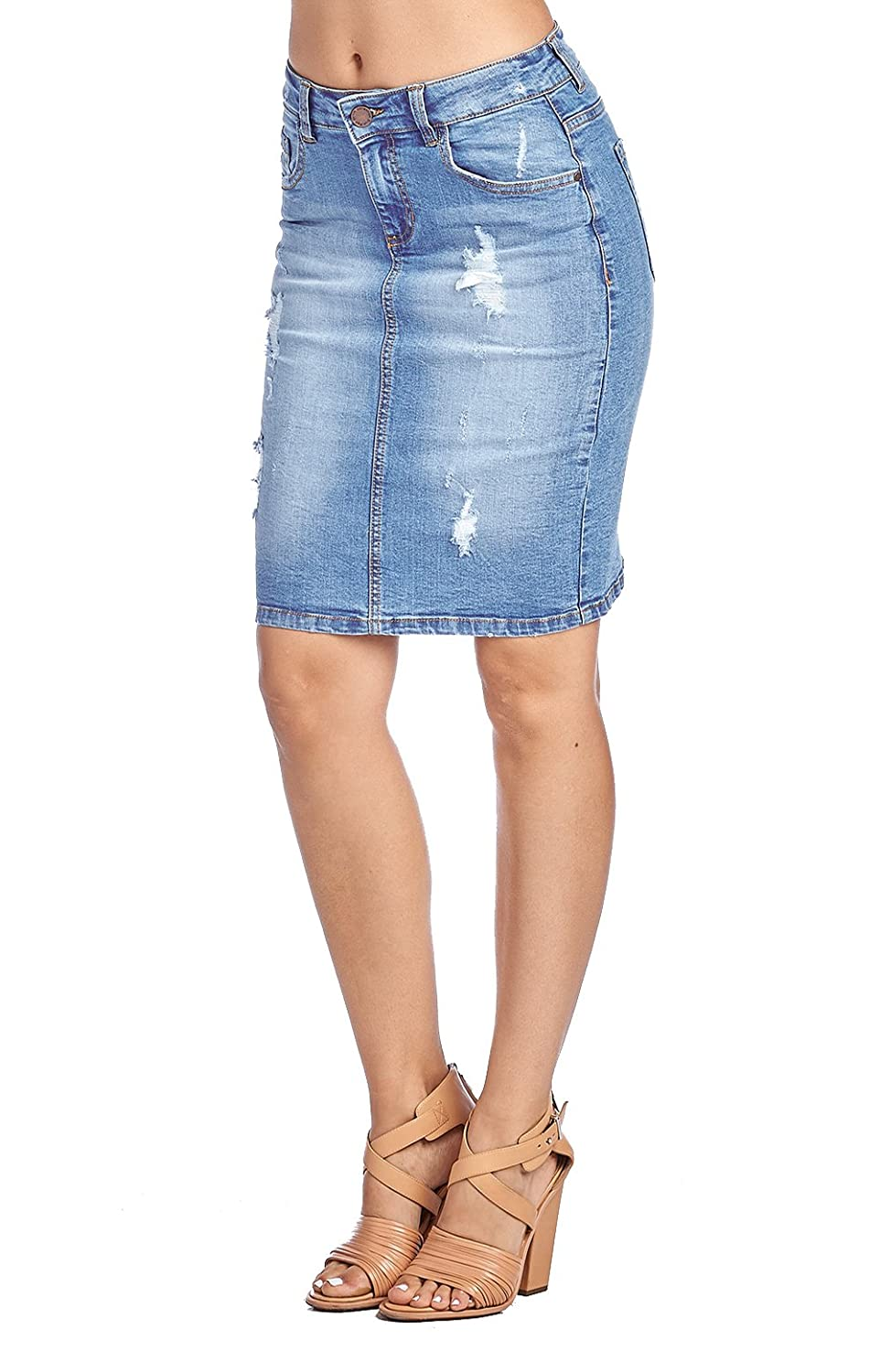 1a262717c23 Zipper Fly closure. Distressed Denim Jean Skirt - Features Distressed Denim  details
