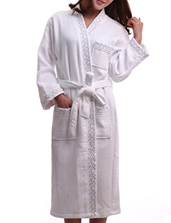 ae6ec5cccf BELLOO Men Women Unisex Dressing Gowns Cotton Waffle Bathrobe Luxury ...