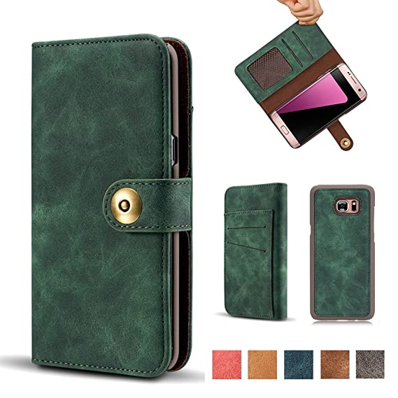 cheap for discount 16a3c 2de3d Galaxy S7 Case,Vintage 2 in 1 [Magnetic Detachable] Flip Folio Wallet PU  Leather Cases Removable Retro [4 Card Slots] Protective Bag Cover with Card  ...