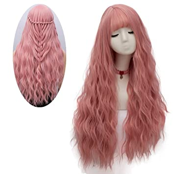 Amazon.com  netgo Women s Pink Wig Long Fluffy Curly Wavy Hair Wigs ... de45e6fe7fa8