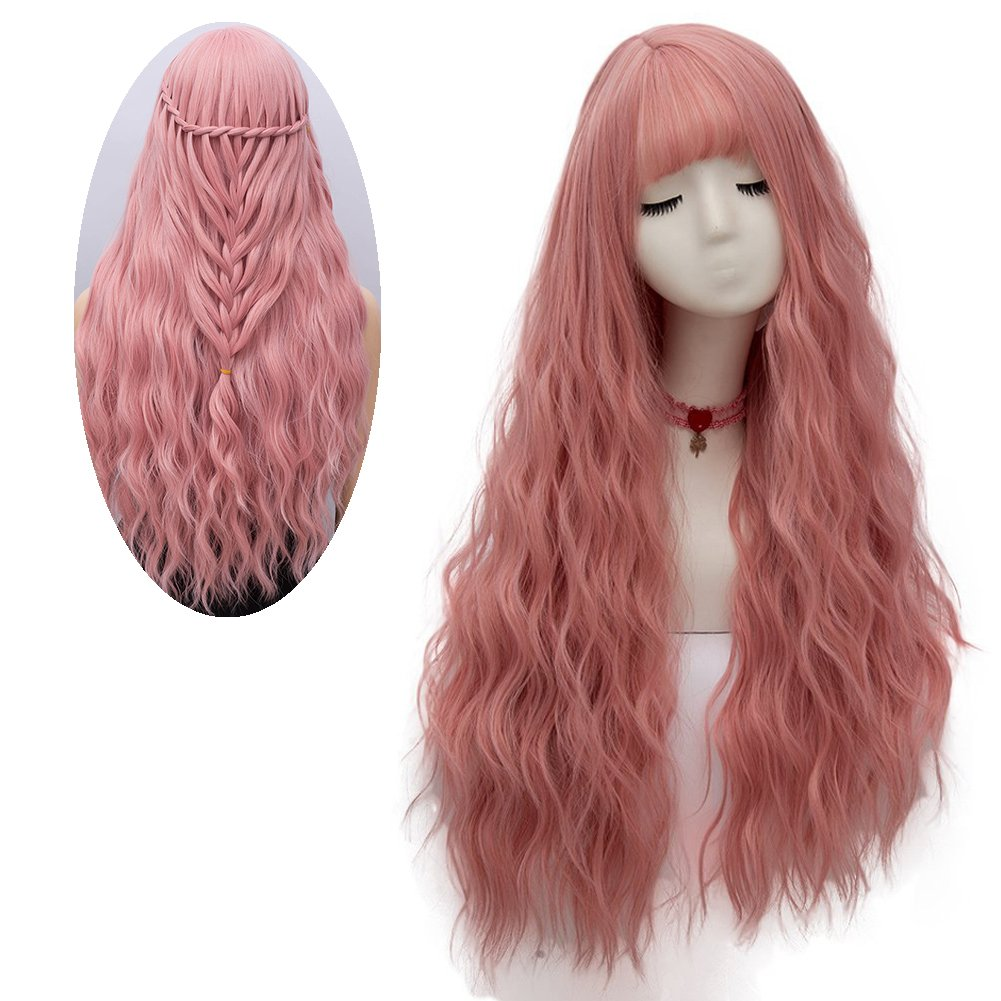 netgo Women's Pink Wig Long Fluffy Curly Wavy Hair Wigs for Girl Heat Friendly Synthetic Cosplay Party Wigs by Netgo