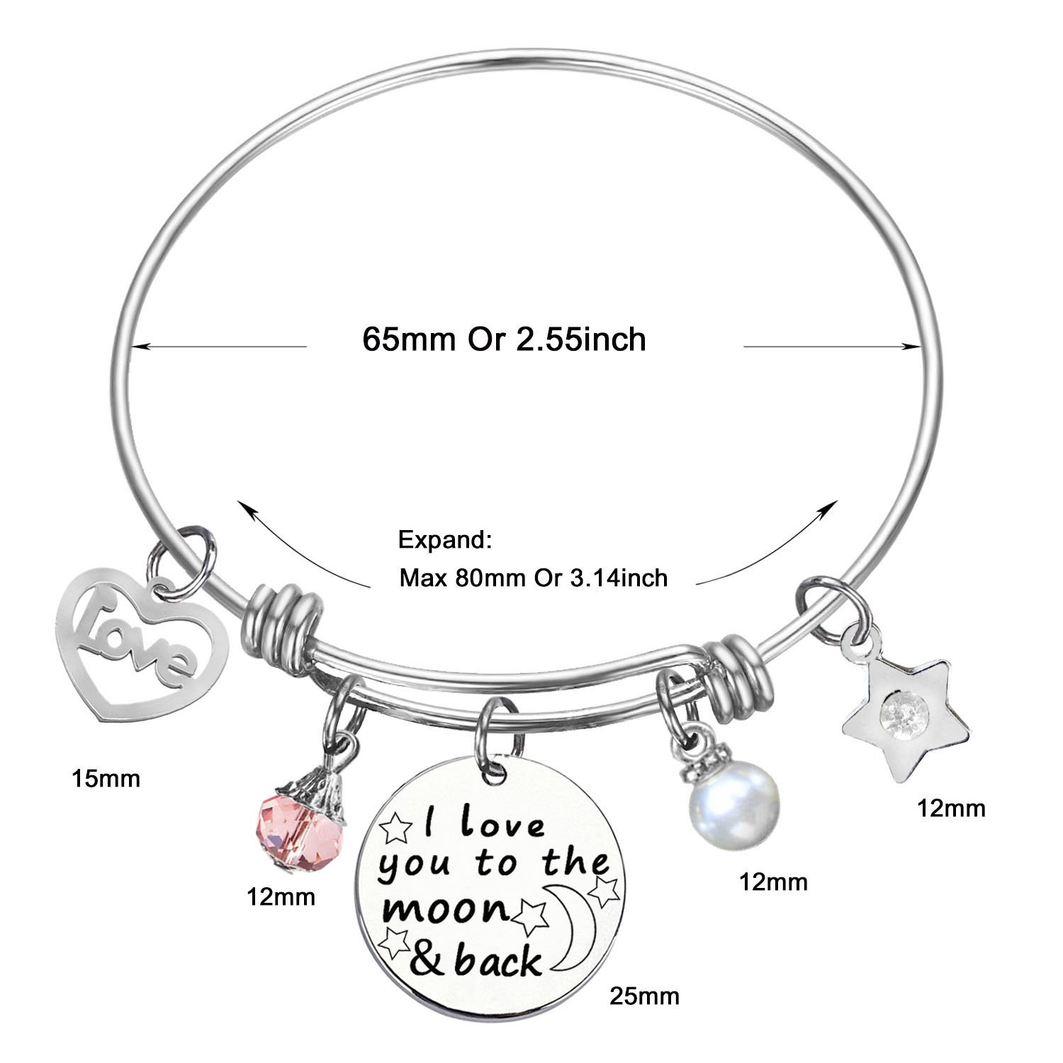 I Love You to the Moon and Back Bangle for SOOFUN Inspirational Jewelry Bracelet