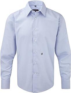Camicia JE922M con Iniziale Ricamata S Men's Long Sleeve Tailored Oxford Shirt - Tutte Le Taglie by tshirteria t-shirteria