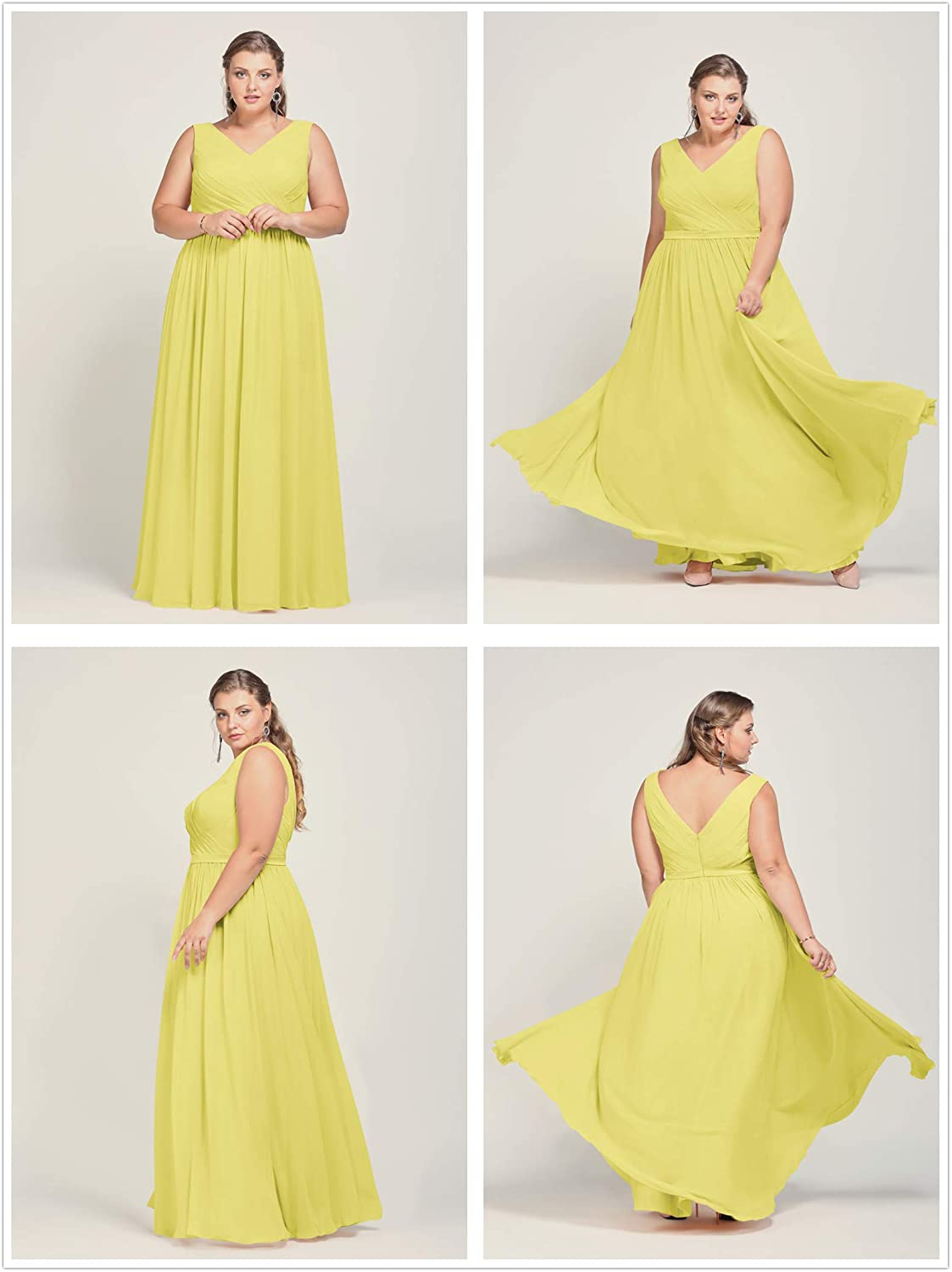 Alicepub V-Neck Chiffon Bridesmaid Dress Long Evening Formal Gown Sleeveless