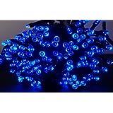 LED ソーラー イルミネーション 太陽発電 200球 9色 点灯8パターン 防雨 屋外 クリスマス イルミ 自動ON/OFF (ブルー)