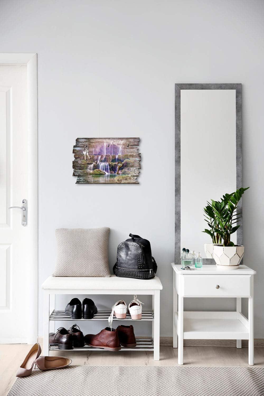 Kreative Feder Wasserfall Designer Schl/üsselbrett Shabby aus Holz 30x20cm HSB039 Hakenleiste Landhaus Style