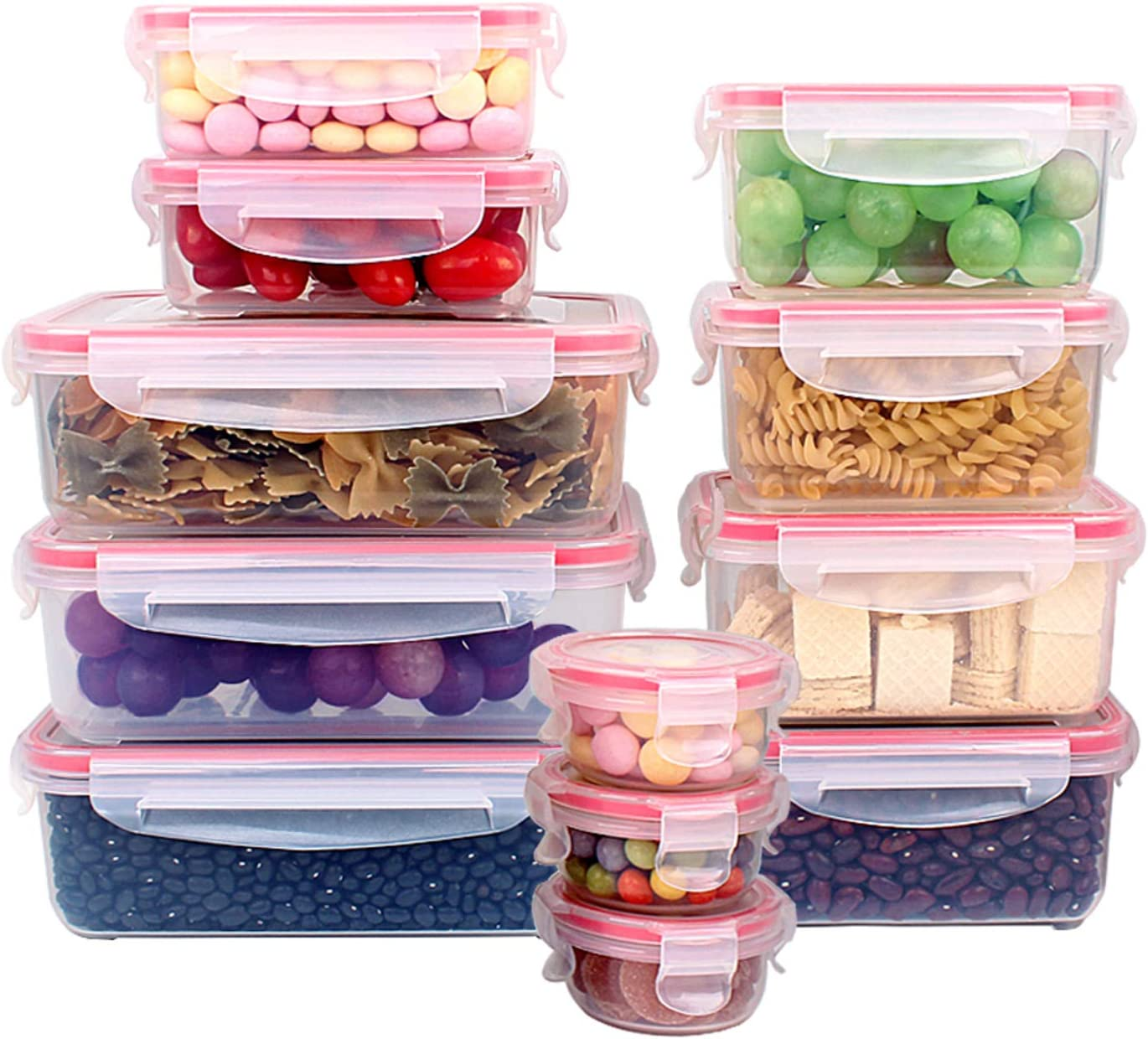 Xeonic 12 Pack Food Containers With Lids - Food Storage with Lids - Plastic Containers with Lids - Food Storage - Food Box Lunch Box Meal prep Containers