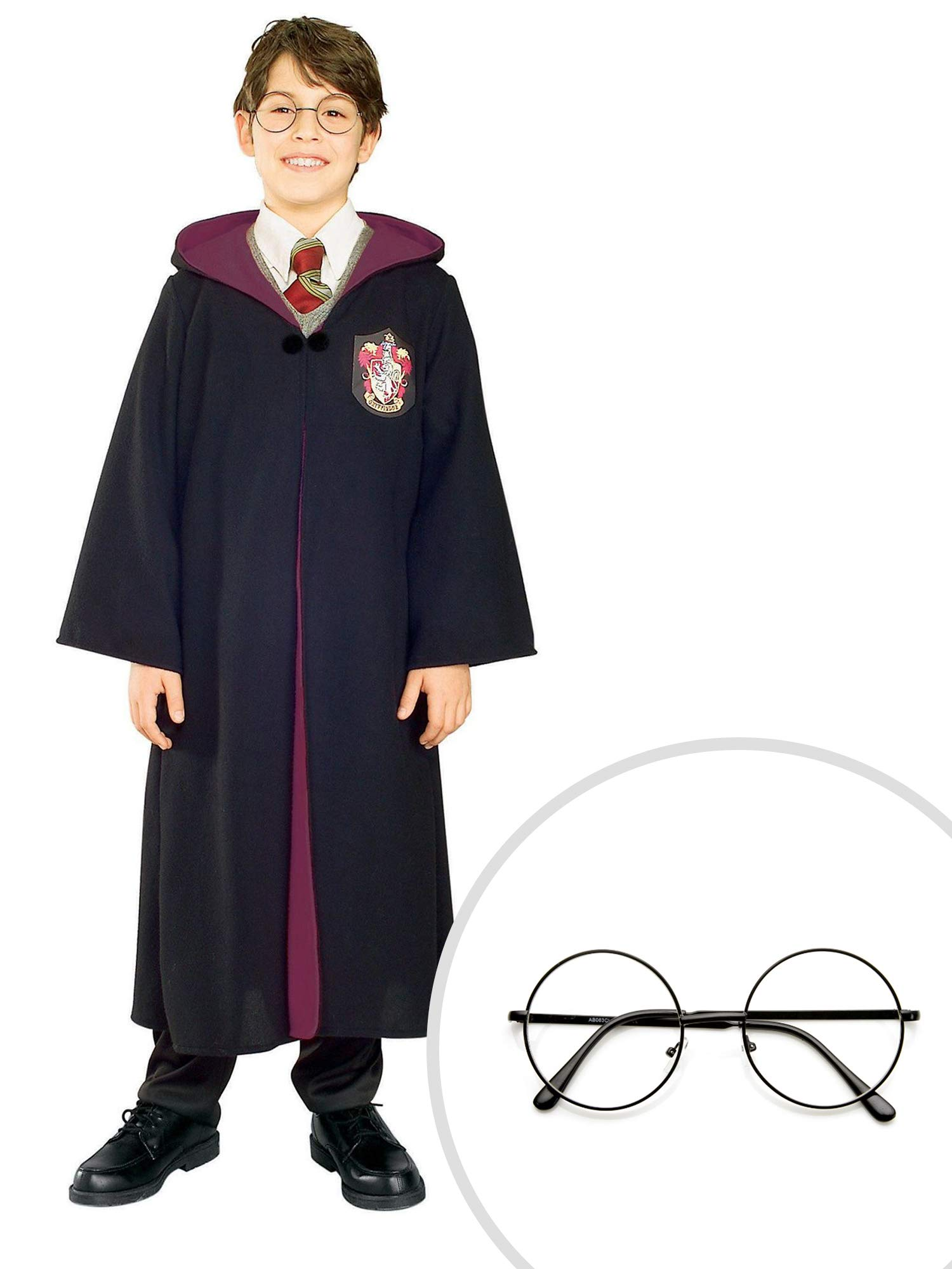 Harry Potter Costume Kit Kids Large Robe With Harry Potter Glasses