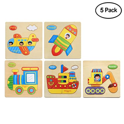 amazon com finduat 5 pack 3d wooden jigsaw puzzle toys for toddlers