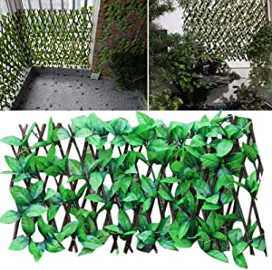 VAHIGCY Expanding Trellis Fence Retractable Artificial Garden Plant Fence UV Protected Privacy Screen for Outdoor Indoor Use
