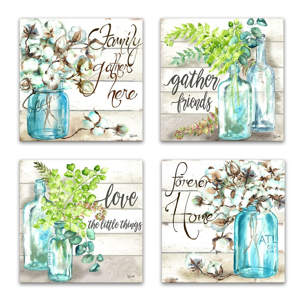 JLXart Wall Art for Bedroom Canvas Print Beautiful Watercolor-Style Family Gathers Here and Forever Home Mason Jar Floral Artwork Four 12x12inch Framed Prints
