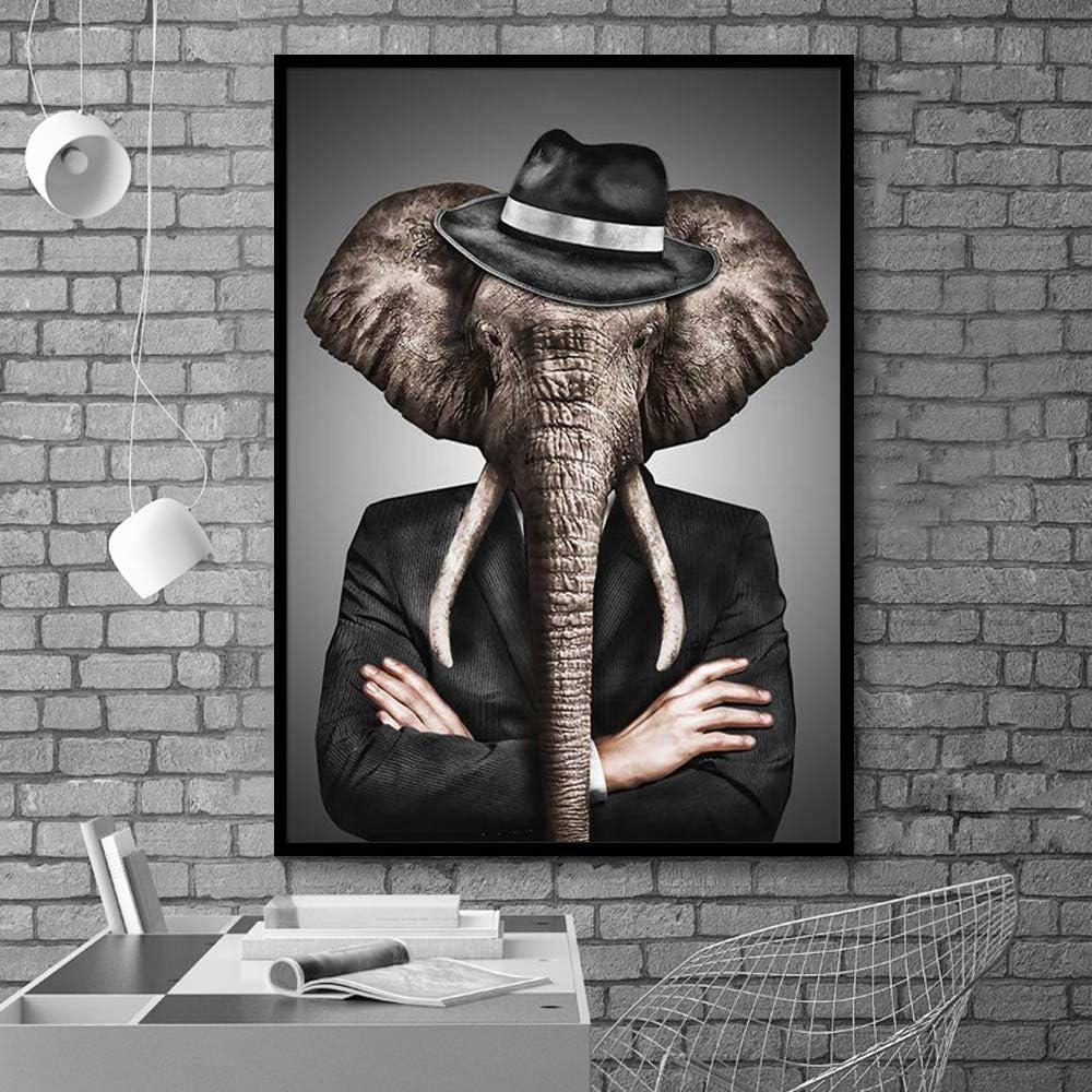 N / A Pintura sin Marco Elegante Blanco y Negro león Tigre Elefante Jirafa Lobo Caballo Arte de la Pared póster y Animales sobre Lienzo ZGQ6959 30X40cm