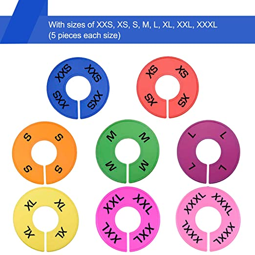 Amazon.com : Blulu 50 Pieces Colored Closet Size Dividers Round Clothing  Rack Dividers With Marker Pen, Blank And Size (XXS To XXXL) : Baby