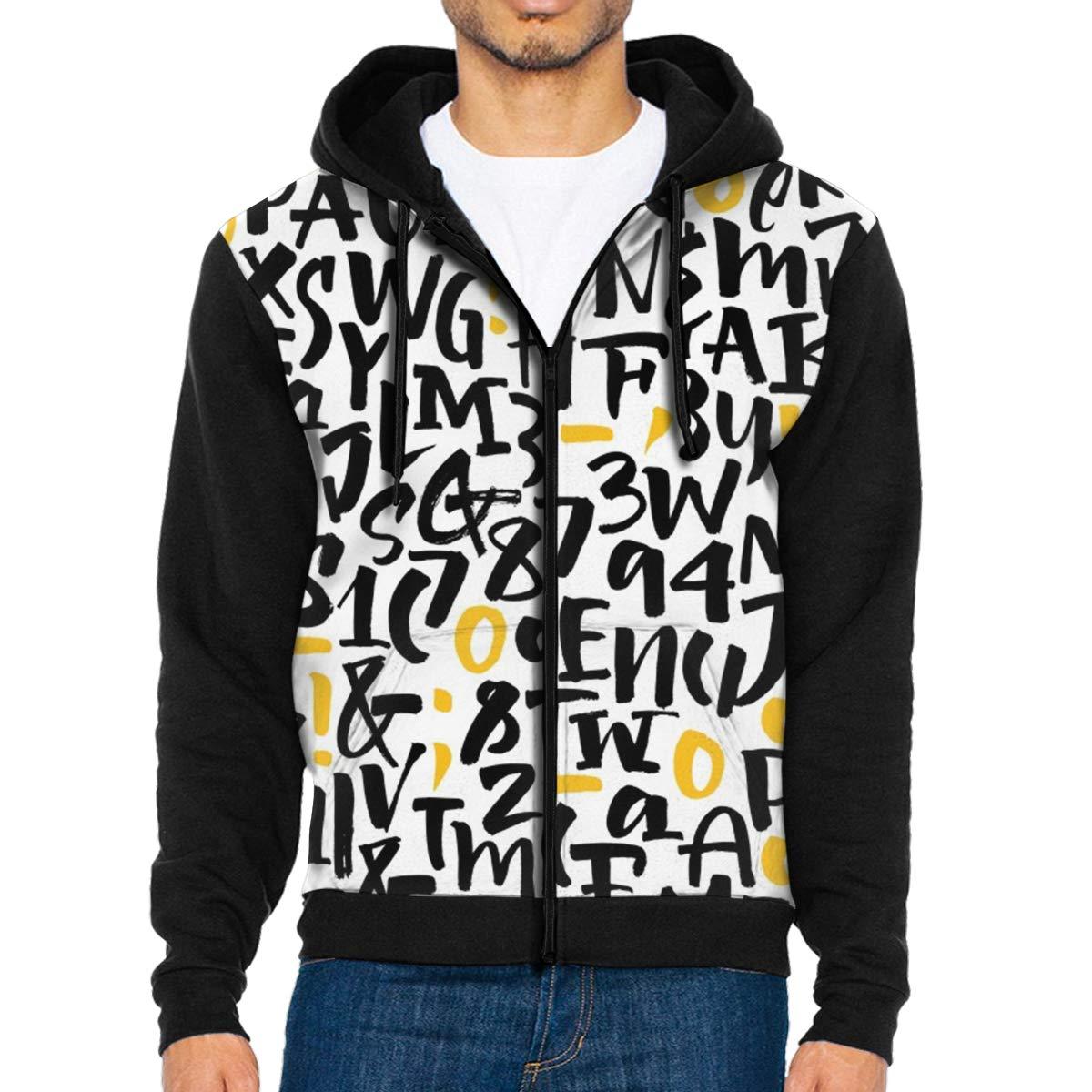 LFCLOSET Alphabet Letters Pattern Lightweight Mans Jacket with Hood Long Sleeved Zippered Outwear