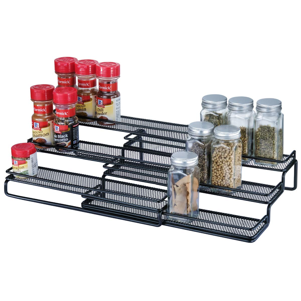 """3 Tier Expandable Cabinet Spice Rack Organizer - Step Shelf with Protection Railing (12.5 to 25""""W), Black"""