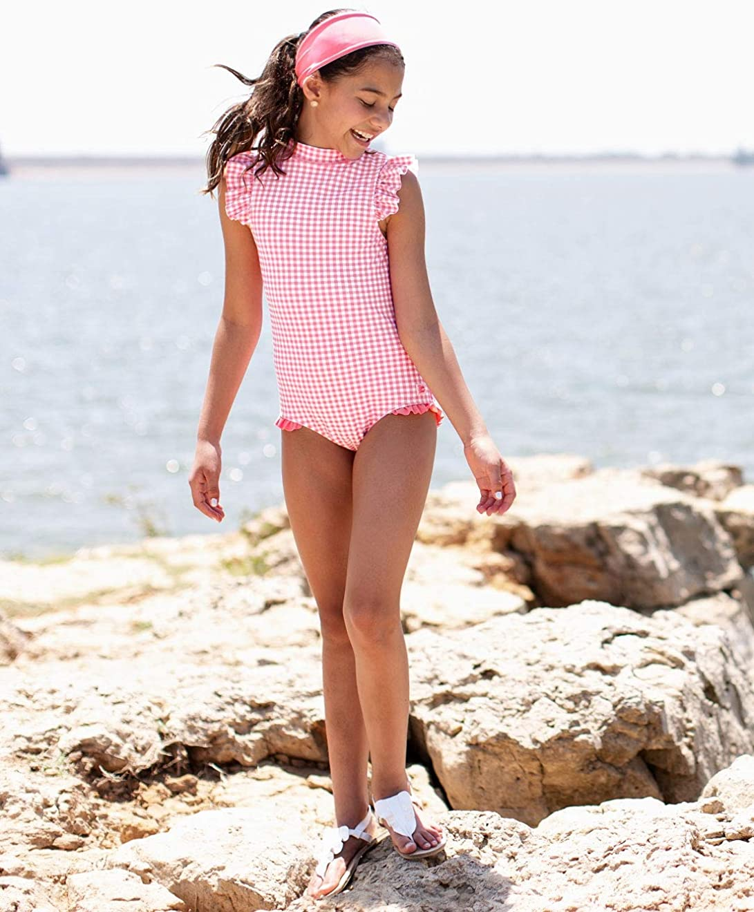 Sun Protective Ruffled Swimsuit Vintage Floral RuffleButts Little Girls High Neck One Piece UPF 50