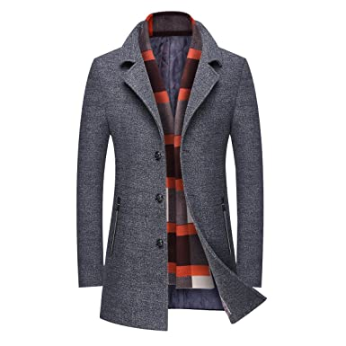 Mirecoo Business Manteau chaud en laine pour homme, manteau d hiver court -  Gris 40c331f34b2f