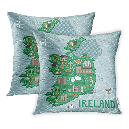 Map Of Ireland Castles.Emvency Set Of 2 Landscape Map Of Ireland Travel Irish Castles People Symbols Traditional Food And Drinks Country Throw Pillow Covers 20x20 Inch