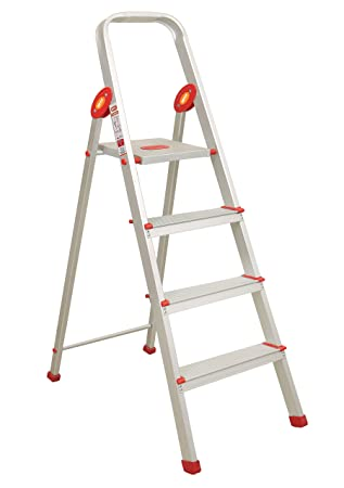 Magna Homewares® Safe Step Plus Handy - Ultra-Stable 4-Step Foldable High Tensile Aluminium Ladder for Home Use with 5-Year Warranty