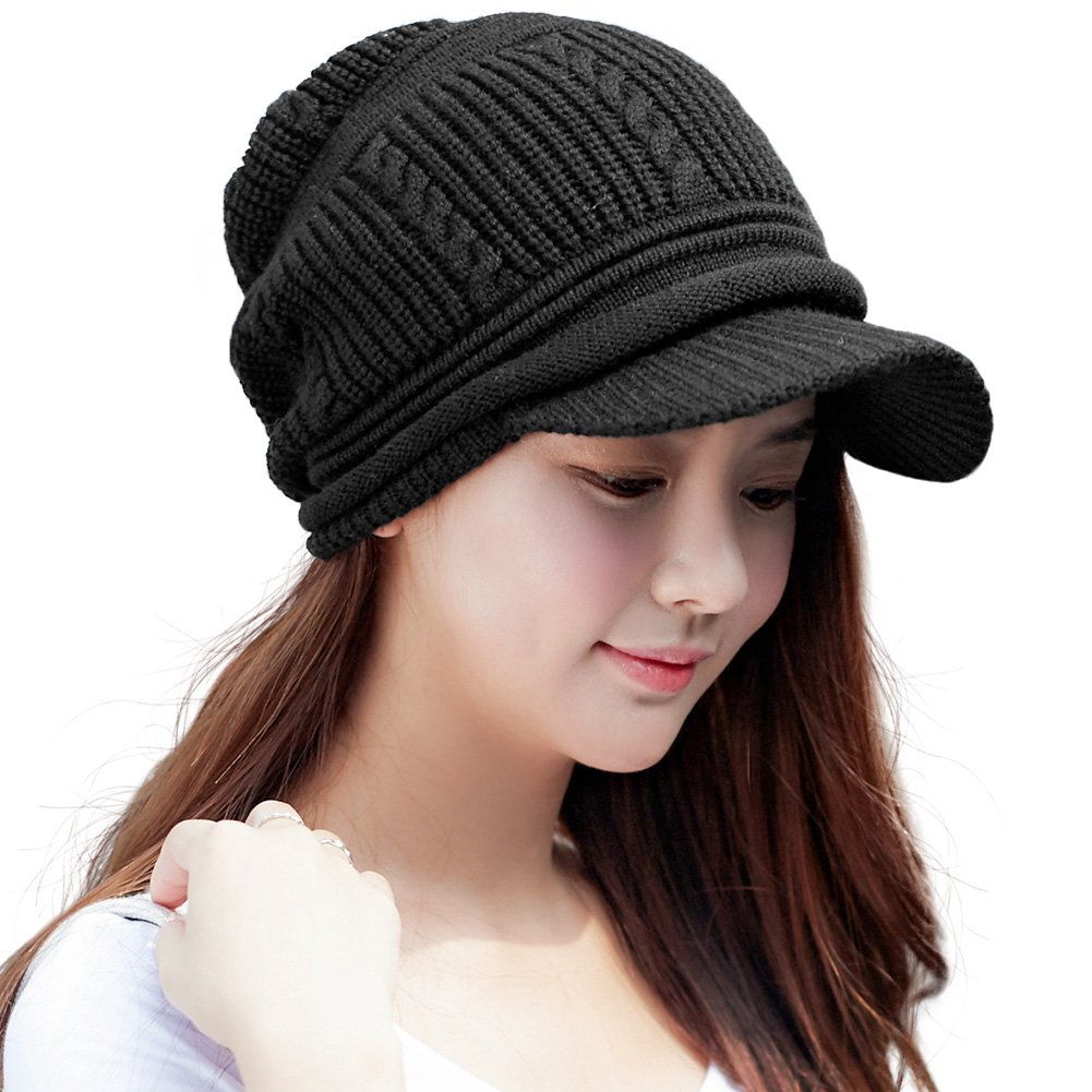 SIGGI Womens Wool Knit Black Visor Beanie Jeep Cap Winter Newsboy Hat for Lady Fleece LinedOne Size16214_black