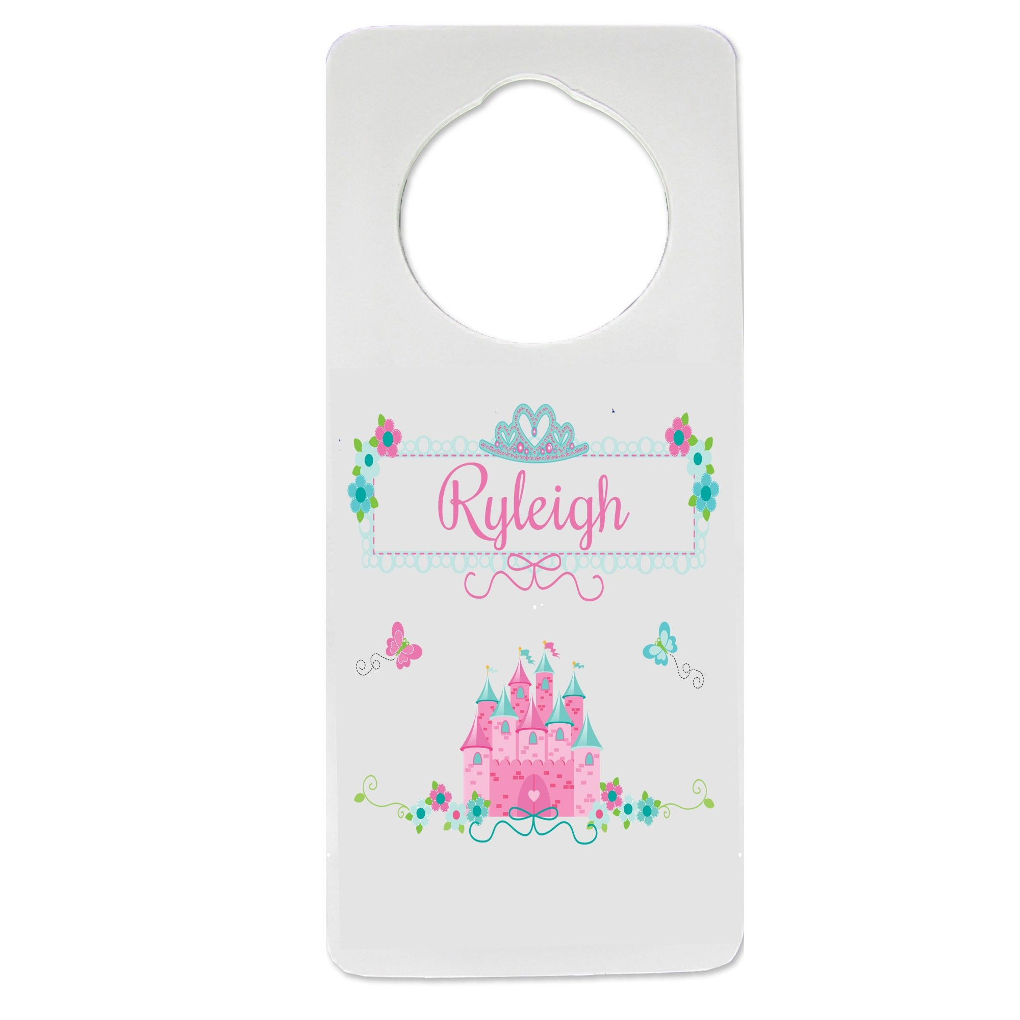 Personalized Pink Teal Princess Castle Nursery Door Hanger