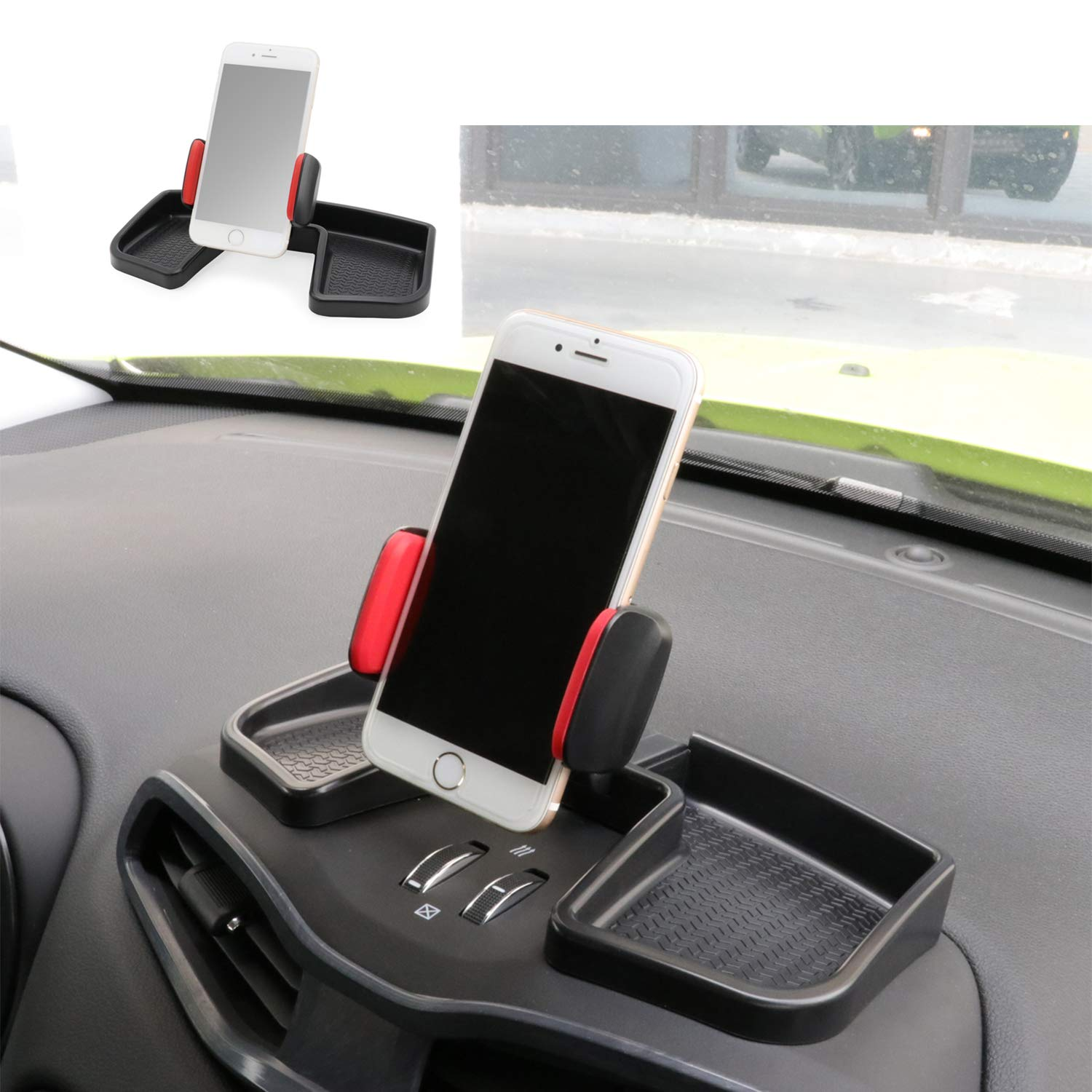 Camoo forJeep Renegade Phone & GPS Car Holder 360 Degree Rotation with Organizer Storage Adjustable Auto Mobile Holder Stand Kit FitsJeep Renegade 2015-2019 by Camoo