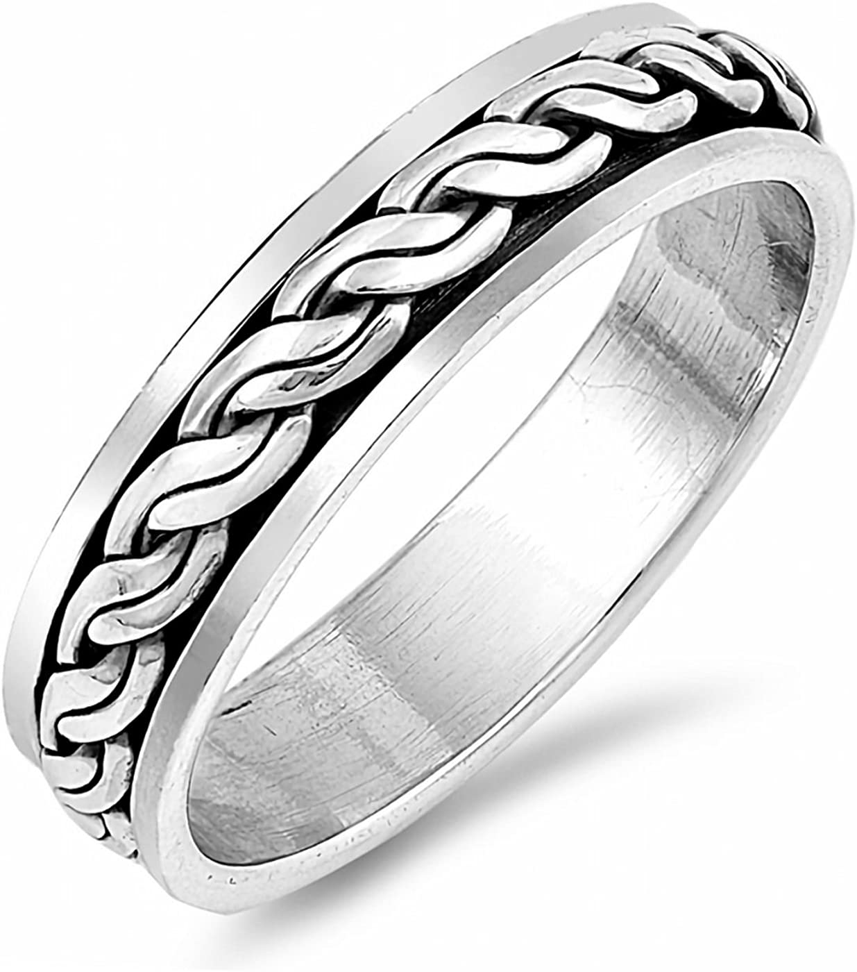 Celtic Weave Braid Spinner 925 Sterling Silver Ring Unisex 8mm Band Sizes 7-13