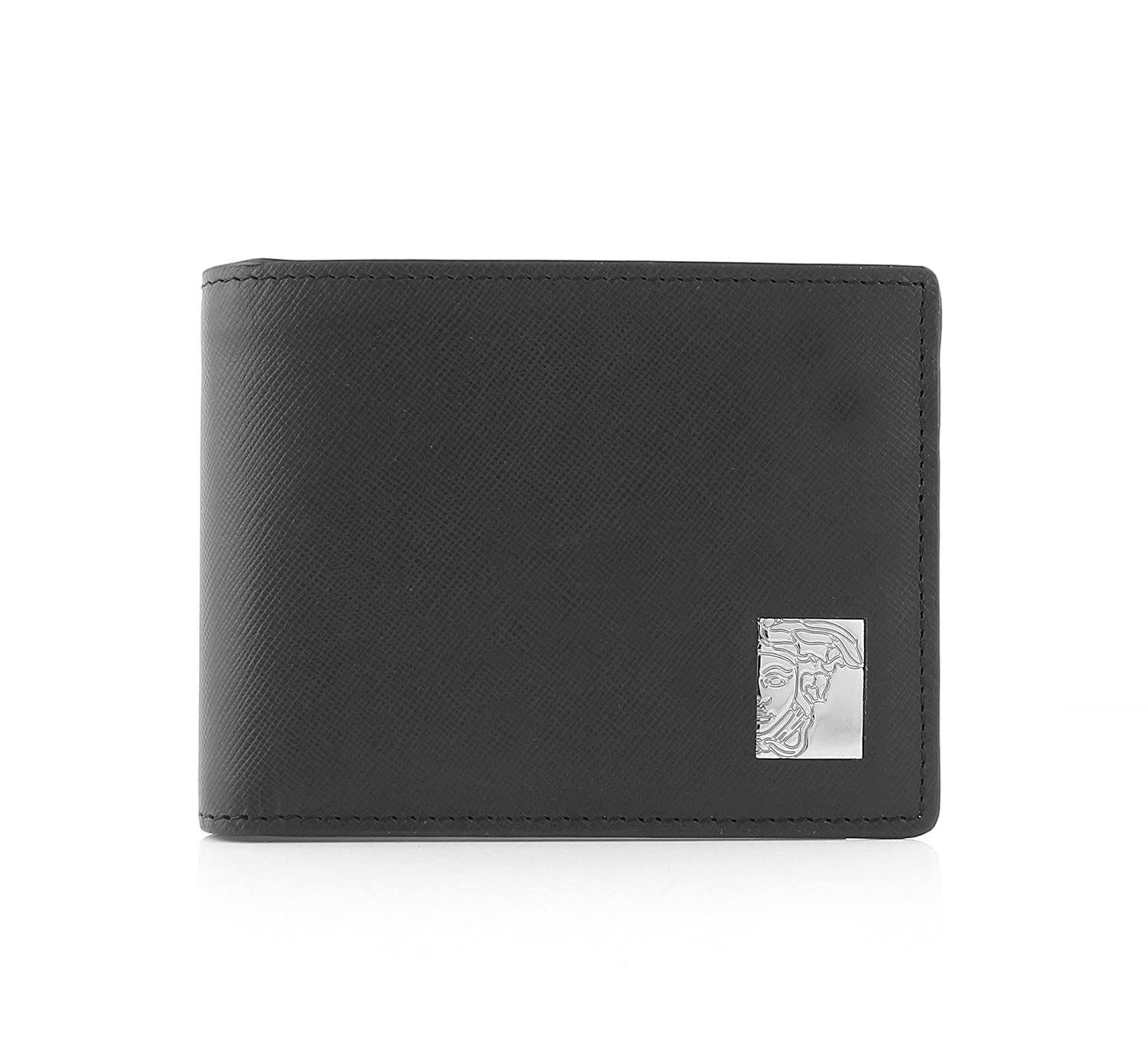 Versace Collection Medusa Plaque Bifold Men's Wallet With Coin Holder