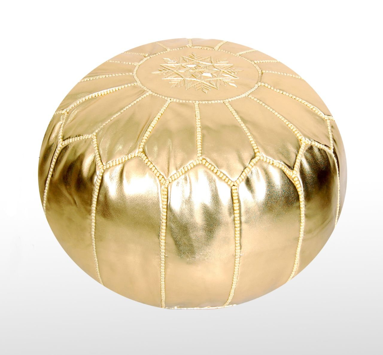 Moroccan Pouf Ottoman Footstool (Faux Leather) Genuine Hand-Stitched Seating | Unstuffed | Living Room, Bedroom, Sitting Area | Gold