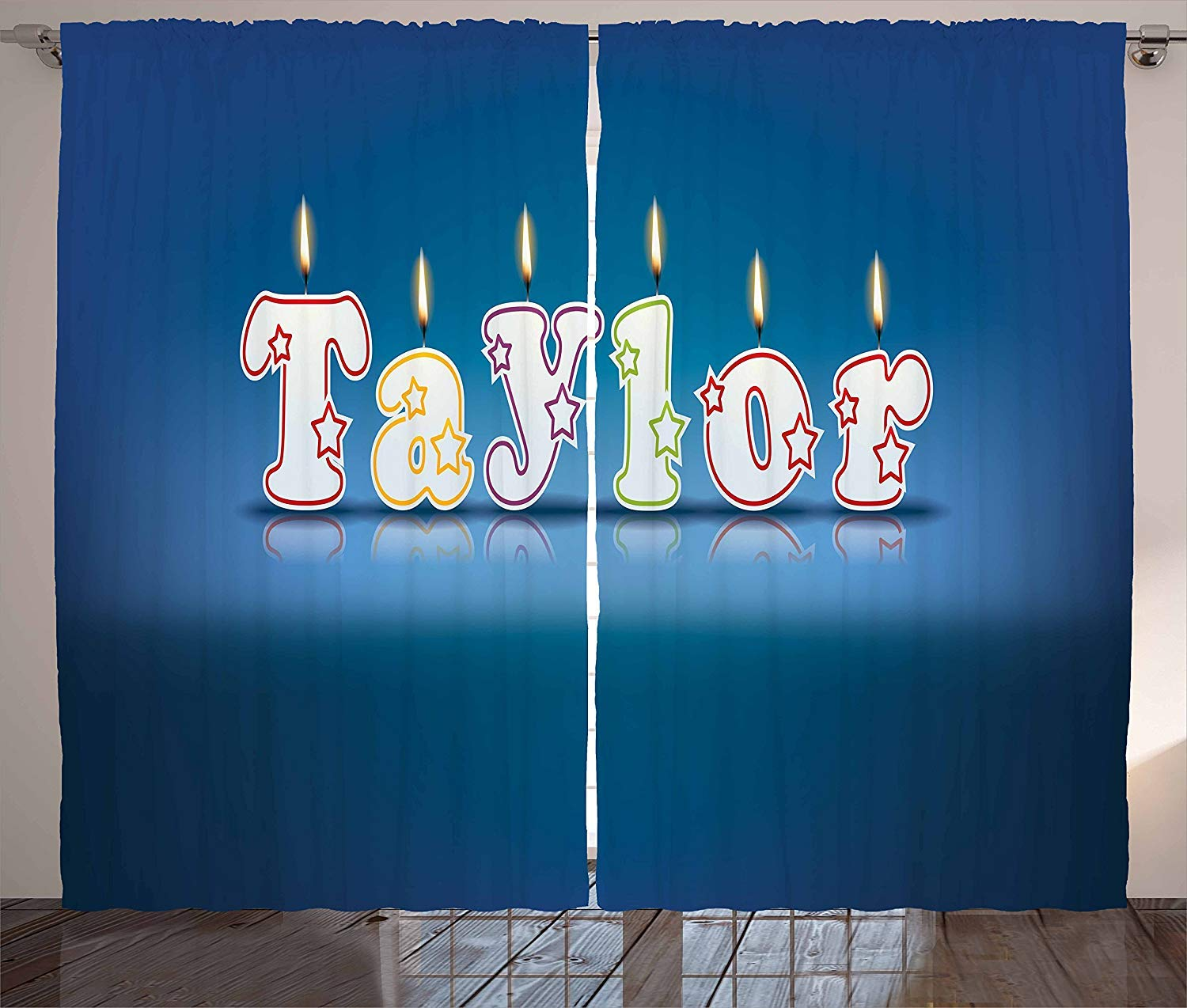 Libaoge taylor kitchen curtains common given name in english happy occasion candles font design on blue 2 panel set for living room kitchen cafe