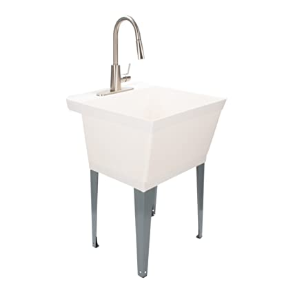 Laundry Sink Utility Tub With High Arc Stainless Steel Kitchen Faucet By MAYA