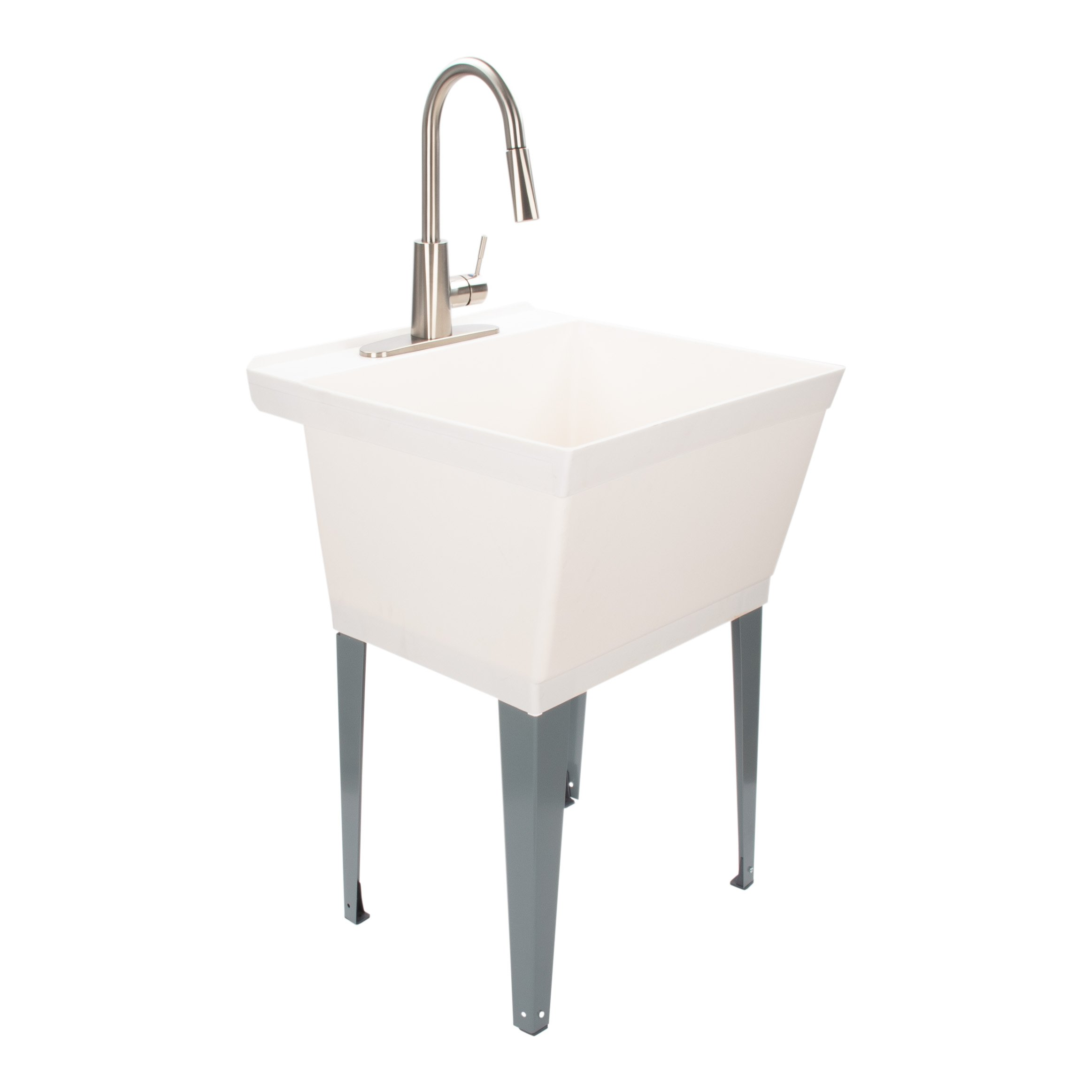 Laundry Sink Utility Tub with High Arc Stainless Steel Kitchen Faucet by Maya - Pull Down Sprayer Spout, Heavy Duty Sinks with Installation Kit for Washing Room, Workshop, Basement, Garage, Slop Sink