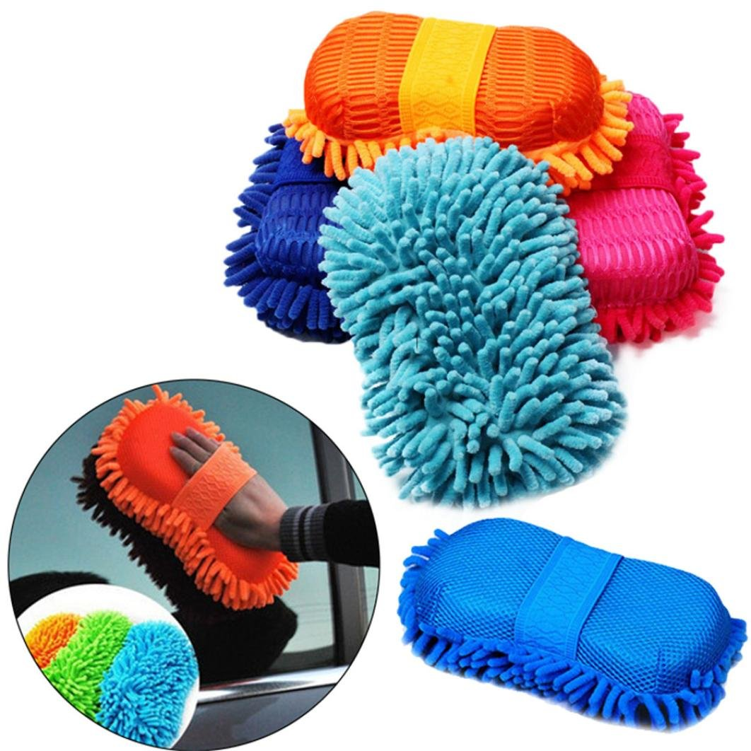 Iuhan Ultrafine Chenille Fiber Multifunctional Hand Towel Cleaning Car Glove (Color Random) (Multicolor)