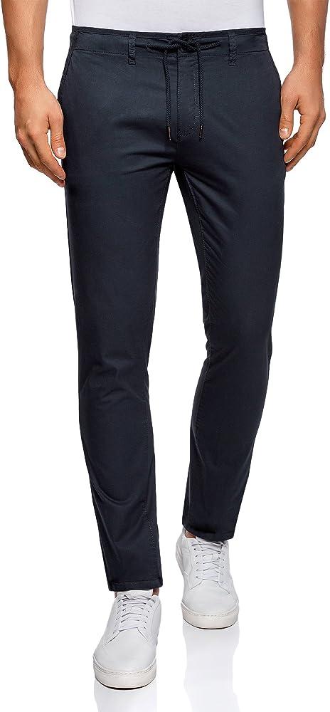 oodji Ultra Hombre Pantalones de Algodón con Cordones, Azul, 36 ...