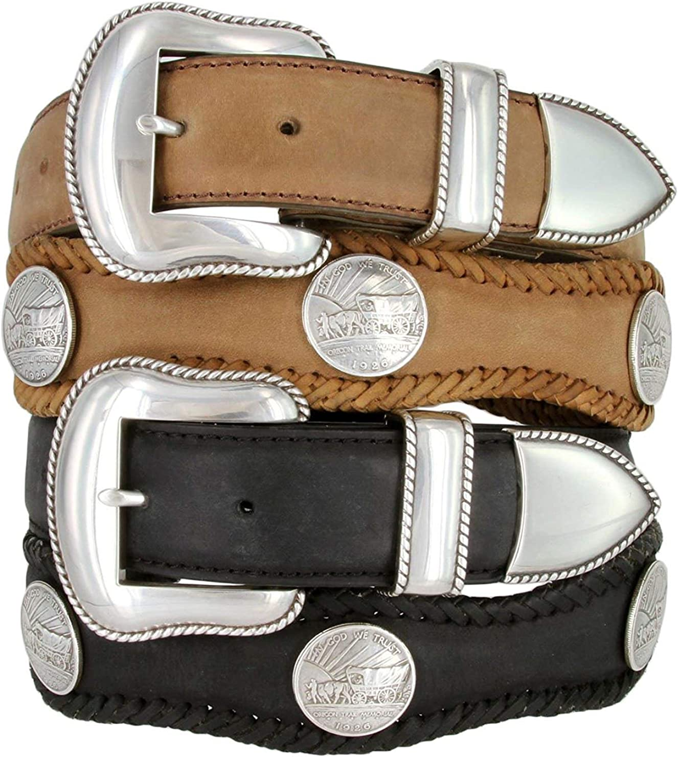 Pele Belt Men Oil-Tanned Leather Laced Silver Coin Conchos /& 3 Piece Buckle