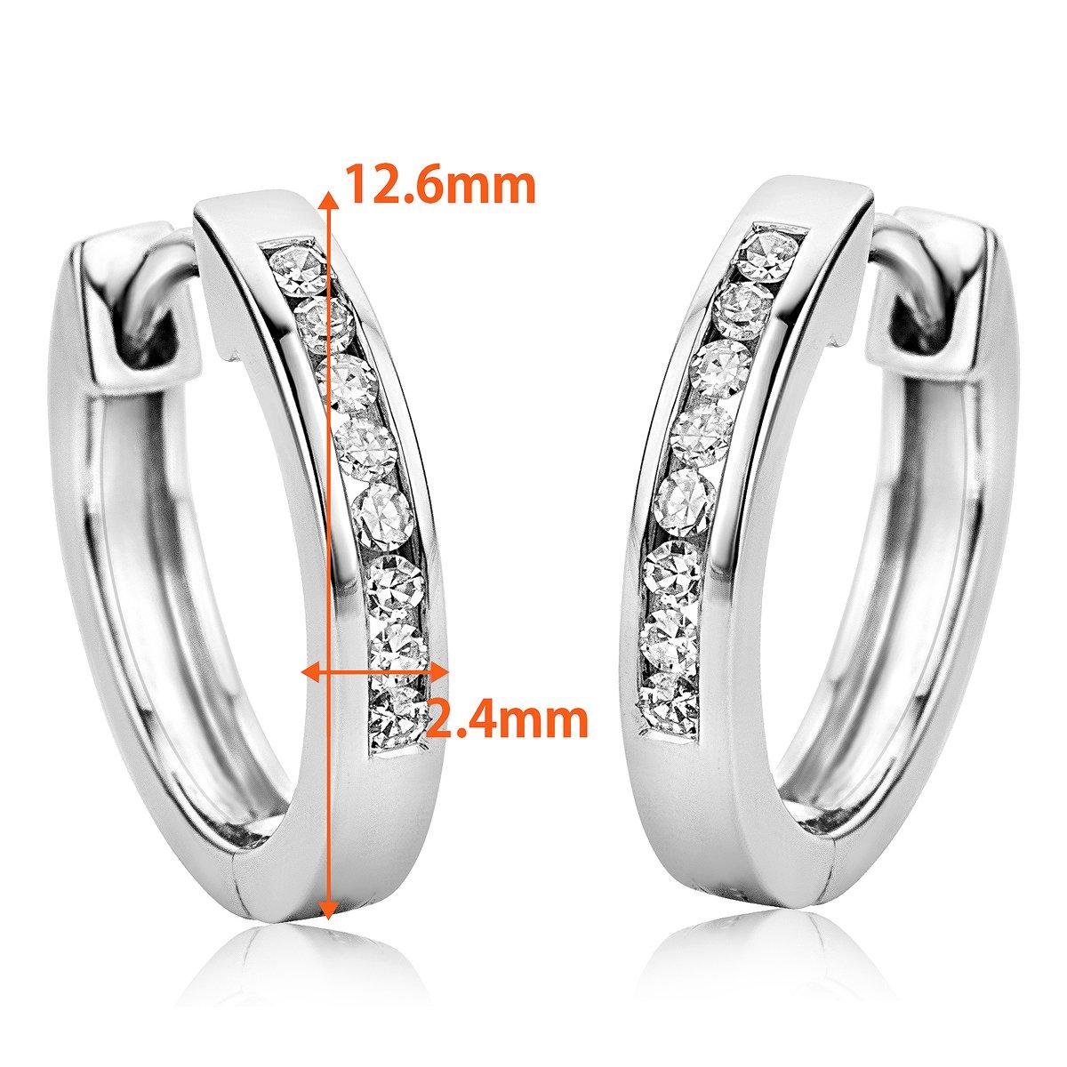 28502c6c14d5 Orovi Pendientes Señora aros en Oro Blanco con Diamantes Talla Brillante  0.11 ct Oro 9 Kt   375  Amazon.es  Joyería
